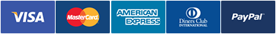 Visa, MasterCard, American Express, Diners and PayPal.